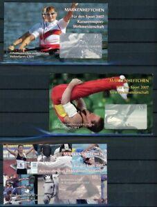 Bund-Sport-Markenheftchen-2007-mit-MiNr-2585-87-postfrisch-MNH-Sport-E562