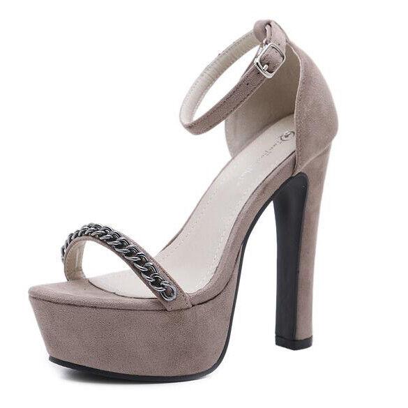 Sandali  tacco tacco  plateau 14 cm grigio simil pelle simil pelle eleganti 9219 69634d