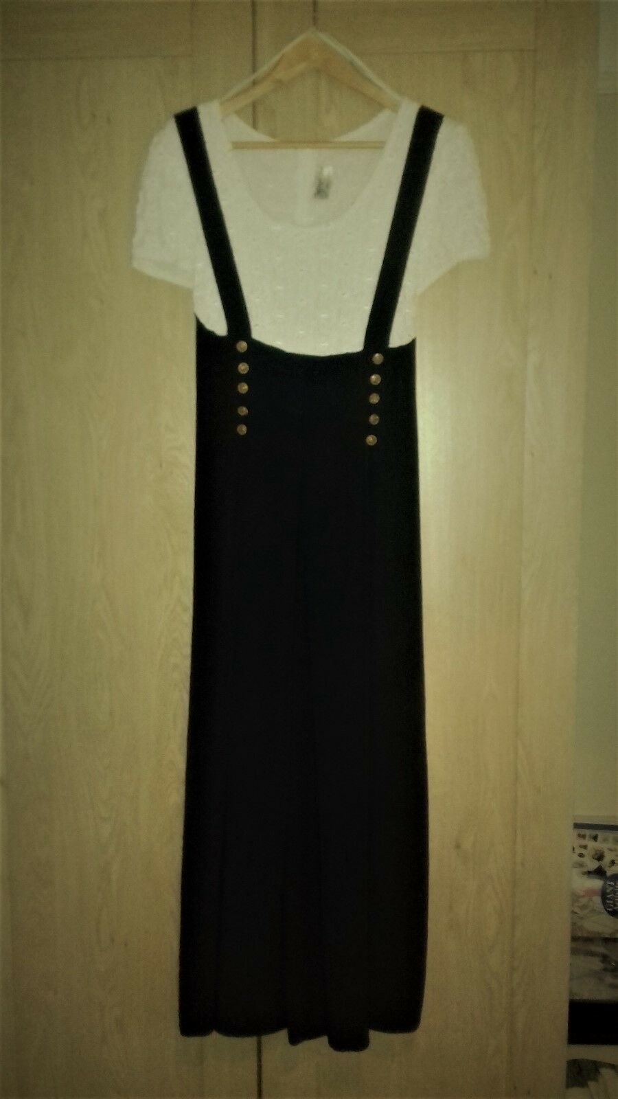 Jumpsuit by Linda Hutley , dark bluee and creme , size 14 .