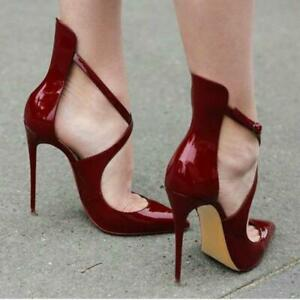 2019-Womens-Patent-Leather-Pointy-Toe-Pumps-Cross-Strappy-High-Heel-2-Club-Shoes