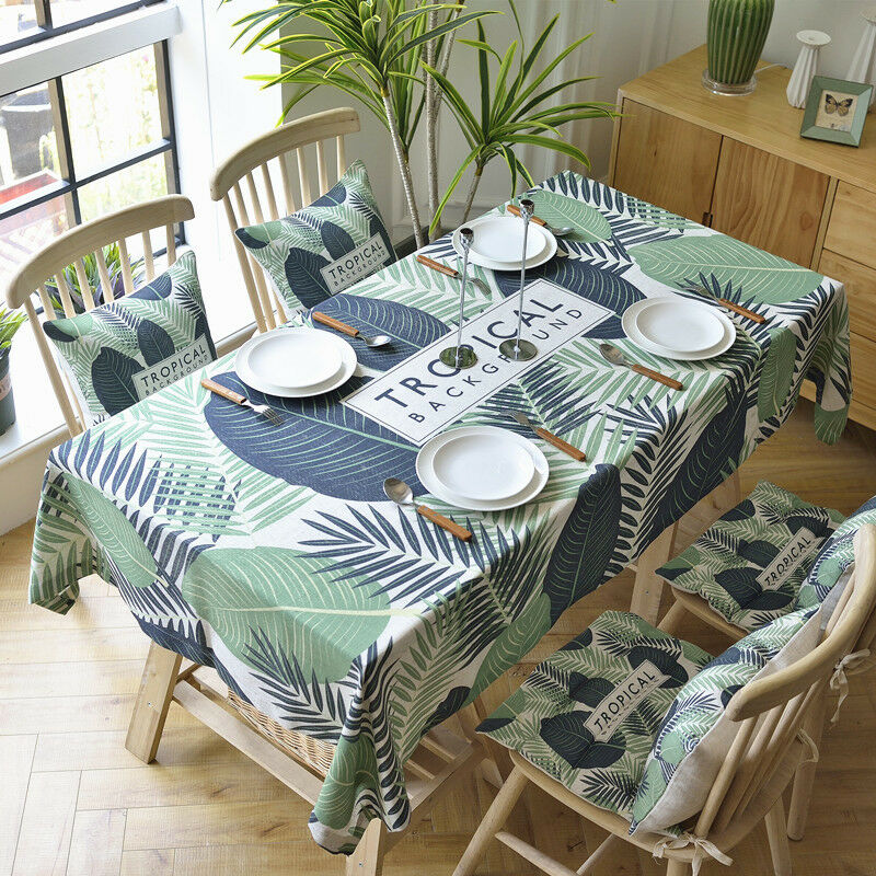 Details About Tablecloth Cotton And Linen Banana Leaf Square Rectangular Round End Table Cover