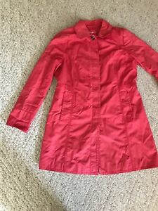 Eddie-Bauer-Trench-Coat-Coral-Red-Pink-Womens-Size-Small-Jacket-Outdoor-Hiking