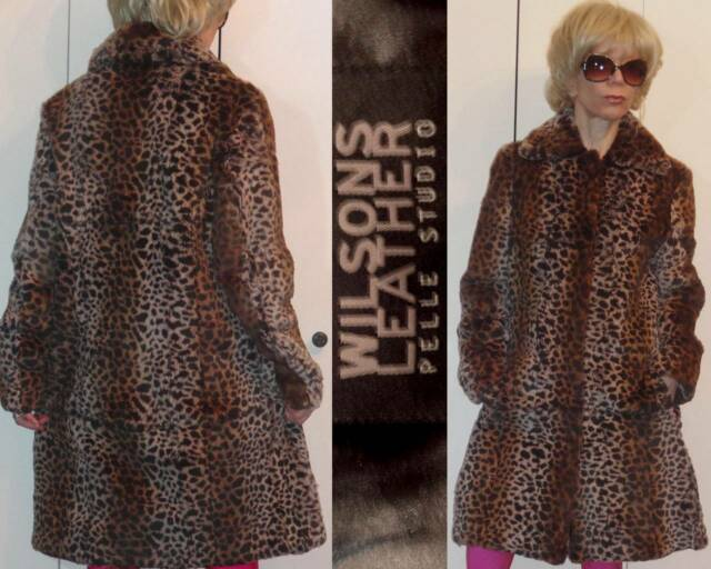 WILSON'S LEATHER PELLE STUDIO SOFT DYED RABBIT FUR LEOPARD PRINT COAT L