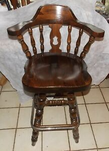 Details About Mid Century Old Tavern Pine Ethan Allen Bar Stool Chair Rp Ac159