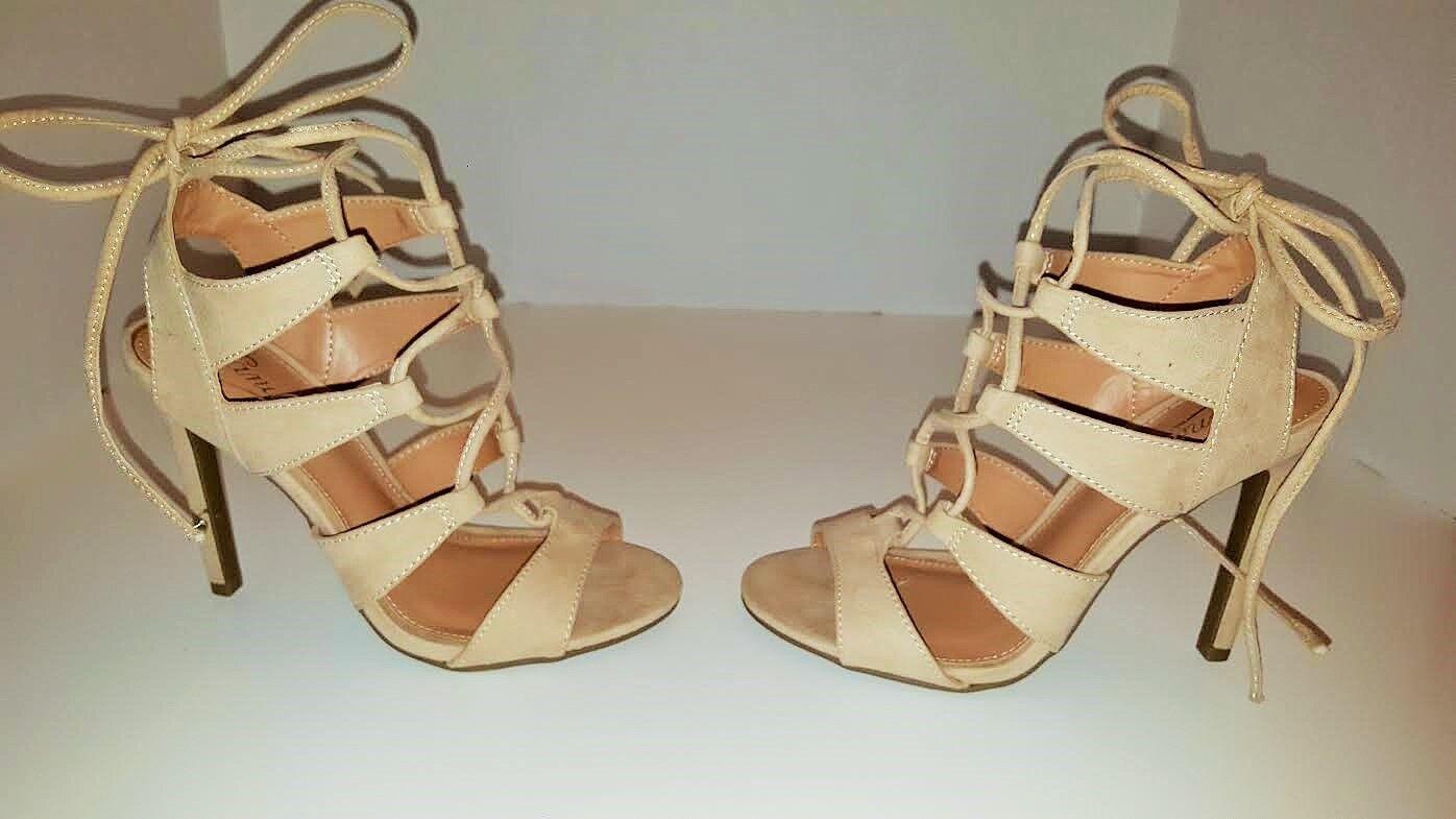 Candies's Suede Lace up bluesh Sandals Heels Pumps Size 6 New