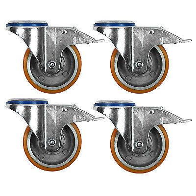"""100MM//4/"""" Heavy Duty Polyurethane Tyre with Aluminium Centre Wheel"""