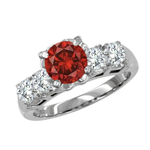 0.7 Carat Red SI2 Round Diamond Solitaire Ring 14K WG Valentineday Spl.Sale