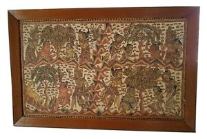 Balinese-Vintage-Art-Cloth-Painting-of-God-039-s-and-Demons