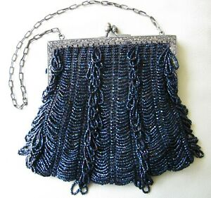 In Smart Antique Art Nouveau Silver Frame Blue Knit Iridescent Bead Tier Fringe Purse Fragrant Flavor