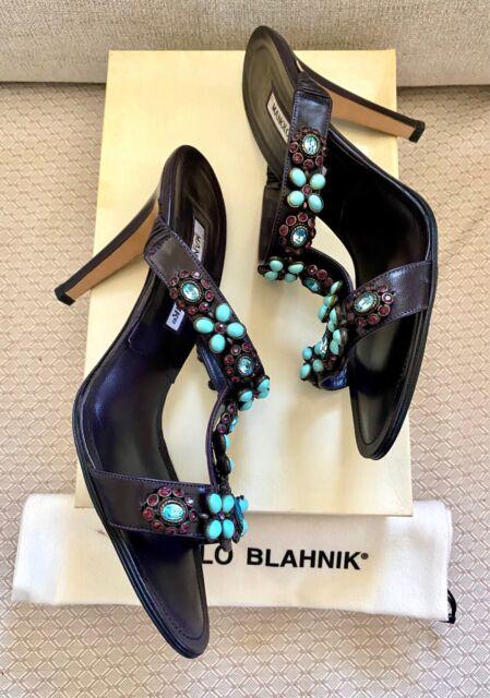 Manolo Blahnik Mosca Brocade Jeweled