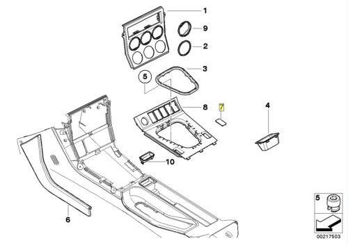 BMW Z3 E36 centro conmutador de consola en blanco tapa de moldura 2492136 51162492136