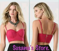 NWT BEBE Bralette Crop Top SIZE L Lingerie-style seaming, sexy sweetheart dip