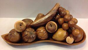 Details about Vintage Wooden Fruit Tray Set Kitchen Decor Wood Figure Apple  Banana Centerpiece