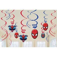 (12ct) Marvel Spiderman Birthday Party Hanglers Hanging Swirl Decorations