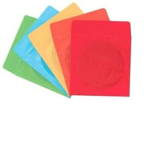 mediaxpo Brand 300 Yellow Color Paper CD Sleeves with Window /& Flap