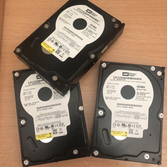"""3x Western Digital WD2500KS-00MJB0 DCM:HSBHYT2CHB 250gb Sata 3.5"""" Hard Drive"""