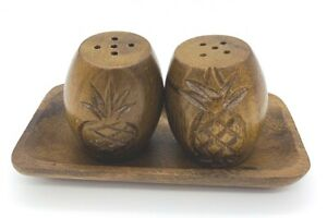 Vintage Philippine Wood Tray w/ Carved Pineapple Salt & Pepper Shakers