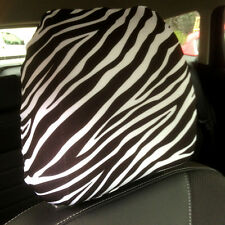CAR SEAT HEAD REST COVERS 2 PACK BLACK AND WHITE ZEBRA PRINT DESIGN