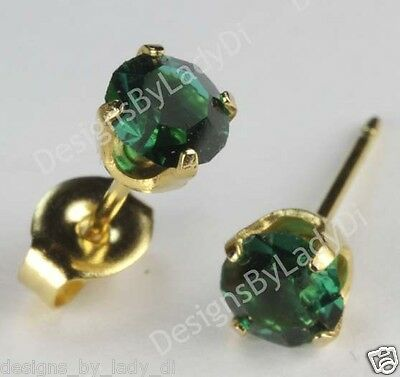 Studex Sensitive Gold 5mm Simulated Green Emerald May Birthstone Stud Earrings