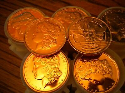 Morgan Head 1oz-1 Tube 20 .2012 Copper Rounds .999 Uncirculated Copper Bullion Quell Summer Thirst