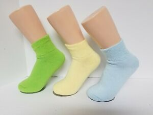 Diabetic Yellow Ankle Socks 3 Pair Women/'s Size 9-11 Made in USA