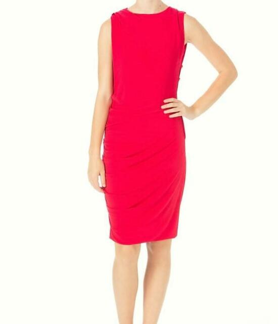 Dkny Donna Karan Women S 179 Retail Red Ruched Stretch Sheath Dress Sz Nwt