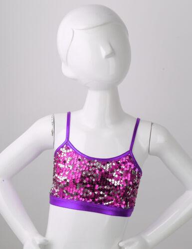 Kids Dance Workout Crop Tops Girls Sequined Bra Tops Gymnastics Ballet Costumes