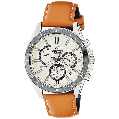 Casio Beige Face EDIFICE Chronograph Mens Analog Casual Brown Watch EFR-552L-7A