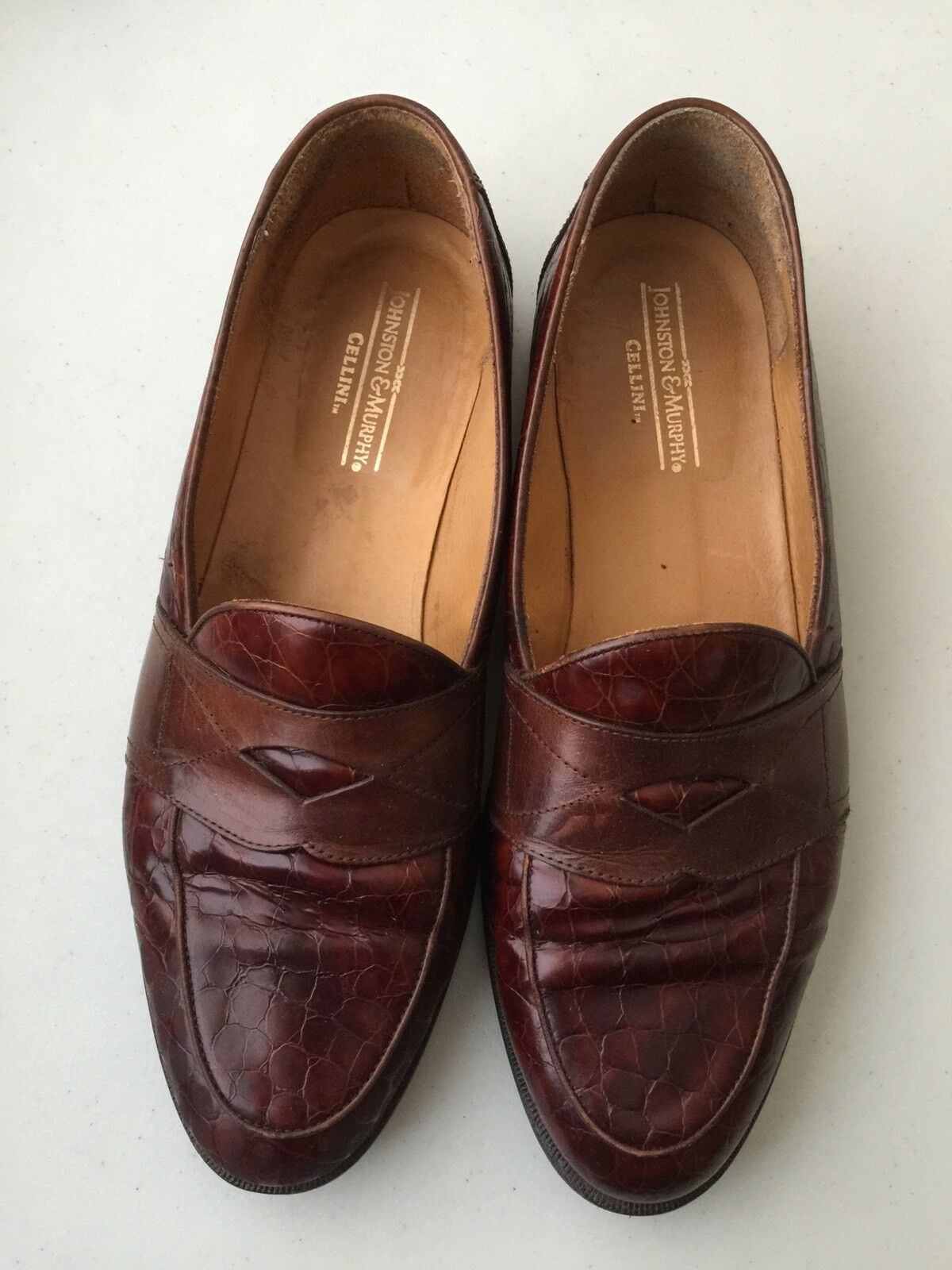 al prezzo più basso Johnston and Murphy Cellini Slip ons ons ons Croc print 10 M Marrone penny Loafers italy  n ° 1 online