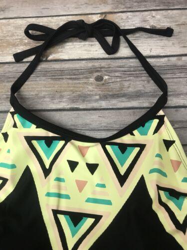 Women/'s plus size Swim Heart /& Harmony Halter high neck top black Yellow 2X 3X