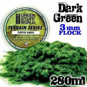 Herbe Statique 3mm - Vert Fonce - 280ml - Flocage herbe - Warhammer - Modelisme
