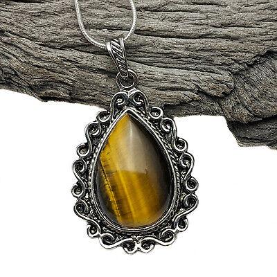 Antique Silver Tone Vintage Style Tiger Eye Pendant Necklace