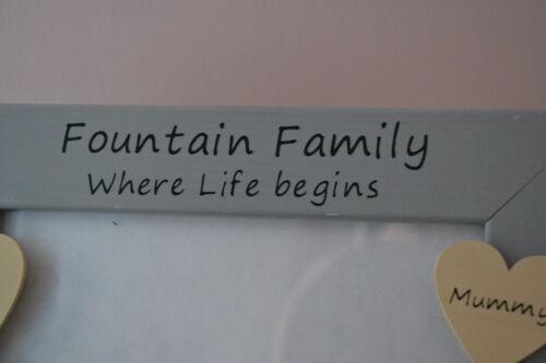 Personalised handmade photo frame FAMILY where life begins grandparent mum dad