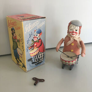 SCHUCO-SOLISTO-WIND-UP-DRUMMING-CLOWN-WITH-ORIGINAL-BOX-amp-KEY-FULLY-WORKING