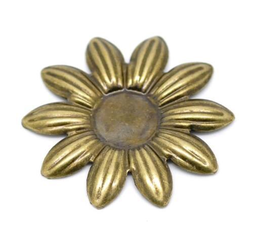 12pc Antique Bronze 36mm Flower Cabochon Setting-5646