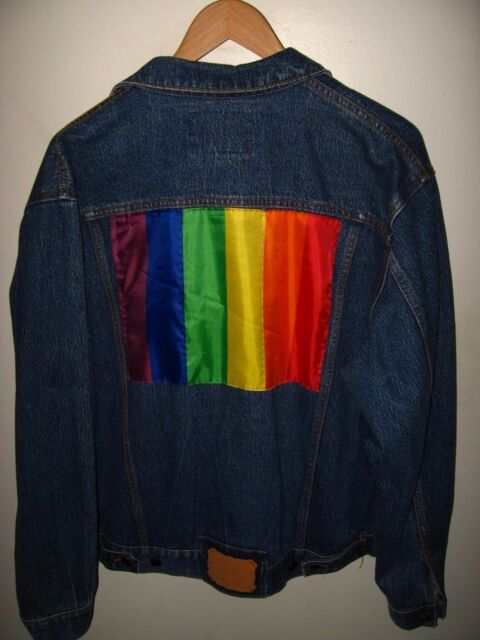 Gay Pride Denim Jacket - 1990's Bruno Bellini LGBT Rainbow Flat Blue Jean Large