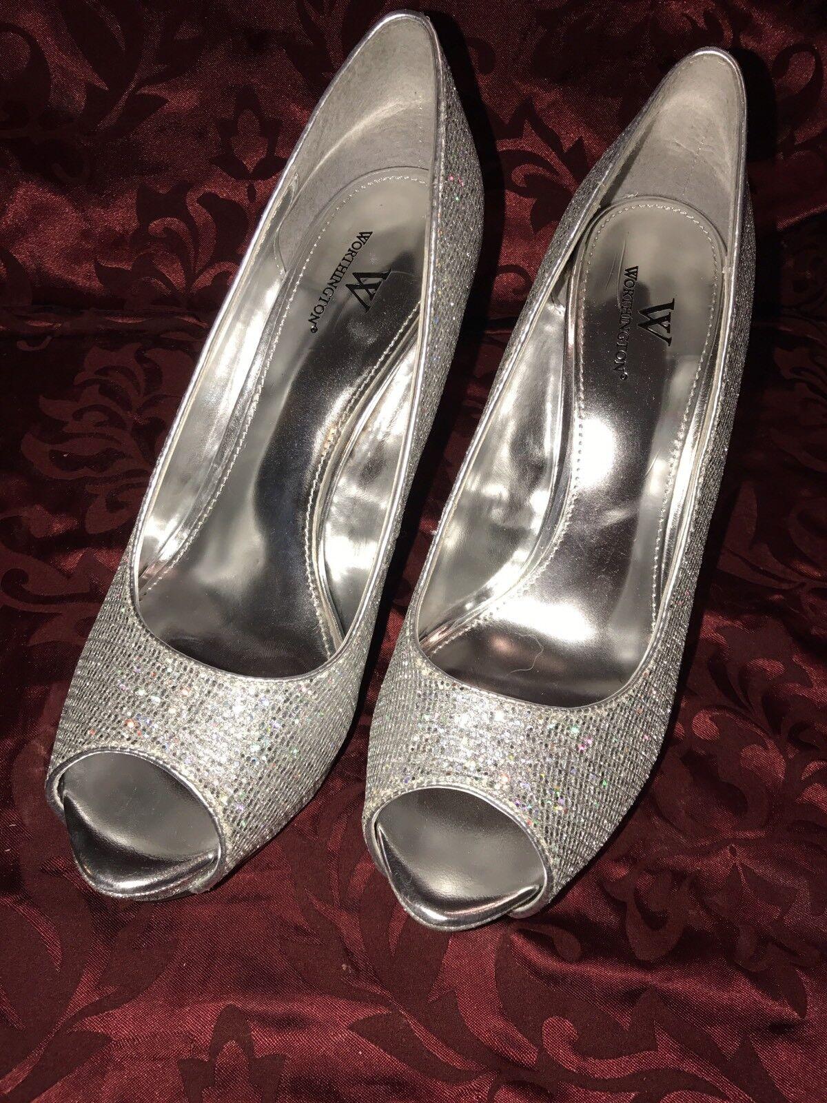 -Sharp-Worthington Silver M Stiletto Pump 8 1/2 M Silver Glitter High Heel Open Toe 6e615d