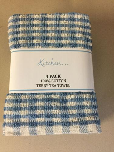 4 Pack Of 100/% Cotton Kitchen Terry Tea Towels 63cm x 43cm Blue