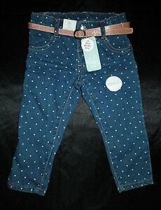 Girls-BNWT-Daisy-Garden-Story-Spotted-Stretch-Jean-Pants-with-Belt-Size3-18Mths