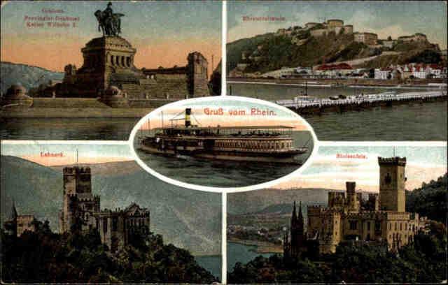 Feldpostkarte Stempel Mainz 1918 a/ AK Gruss vom Rhein, Stolzenfels Lahneck uvm.