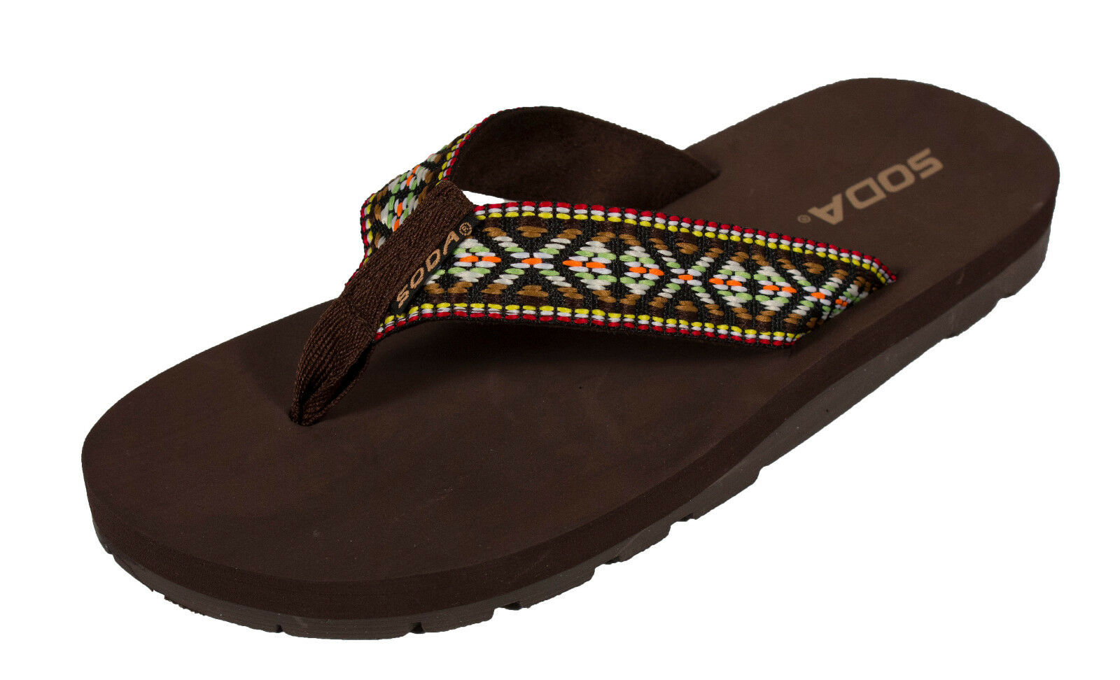 Benton! Soda Women's Multi Flip-Flop Thong Flat Sandal in Brown Multi Women's Color EVA cafcca