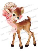 Vintage Image Retro Nursery Baby Deer In Pink Bonnet Waterslide Decal An786