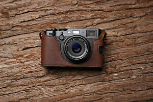Details about Genuine Real Leather Half Camera Case Bag Cover for FUJIFILM  X100F Brown Color
