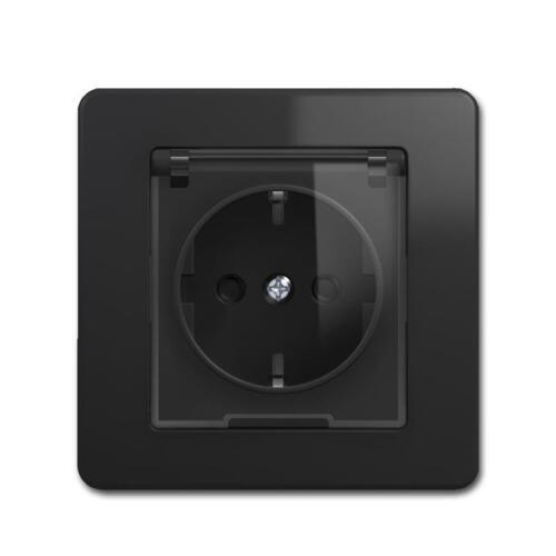EKONOMIK Schuko-Steckdose anthrazit schwarz mit Klappdeckel Deckel 10009498