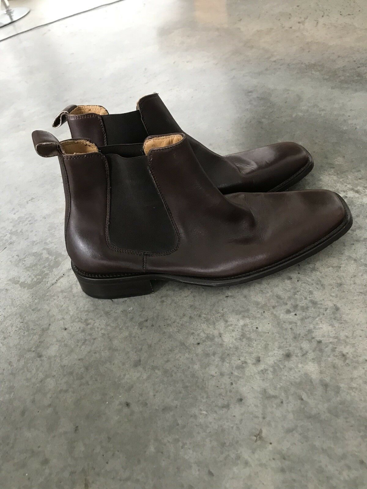 Kenneth Cole Dedo Del Pie Cuadrado Cuero Marrón Tirar botas (R) 43.5