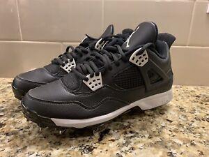 b58b124f82e606 Mens Nike Air Jordan IV 4 Baseball Cleats Oreo Black Retro SZ 8 ...