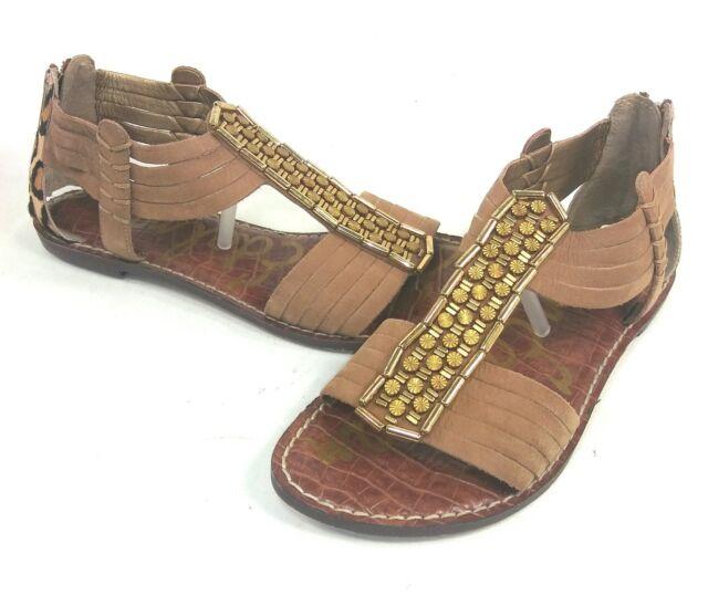 16bc225a521ae Sam Edelman Gatsby Gladiator Sandal Saddle   Leopard Womens US 6 M Euro 36