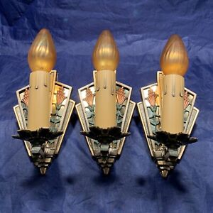 Set of three 3 early antique Art Deco polychrome sconces GREAT 91B