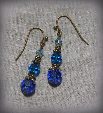 BRASS SAPPHIRE CAPRI TEAL LT AQUA BLUE CRYSTAL OMBRE EARRINGS DECO BOHO BEACH