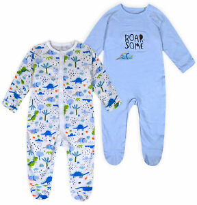 Baby-Boys-2-PACK-Babygrow-Kids-Dinosaur-Sleepsuit-100-Cotton-Age-NB-18-Months